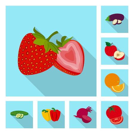 Vector illustration of vegetable and fruit icon. Collection of vegetable and vegetarian vector icon for stock. Vecteurs