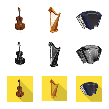 Vector illustration of music and tune. Collection of music and tool vector icon for stock.