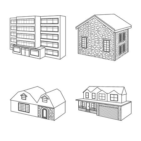 Vector design of city and construction. Collection of city and estate stock vector illustration. Иллюстрация
