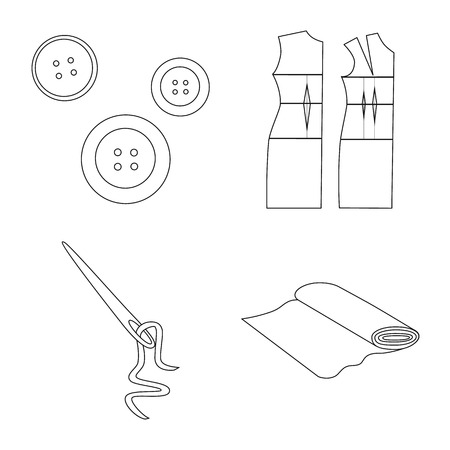 Isolated object of fashion and tailoring symbol. Set of fashion and textile stock vector illustration.