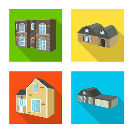 Isolated object of facade and housing. Collection of facade and infrastructure vector icon for stock.