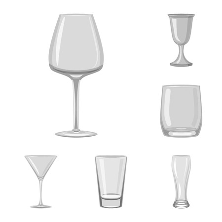 Vector illustration of capacity and glassware icon. Collection of capacity and restaurant stock symbol for web.