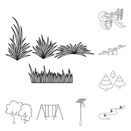 Vector illustration of landscape and nature symbol. Set of landscape and city vector icon for stock. Stock Illustratie