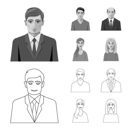 Vector design of hairstyle and profession  icon. Set of hairstyle and character  vector icon for stock. Illusztráció