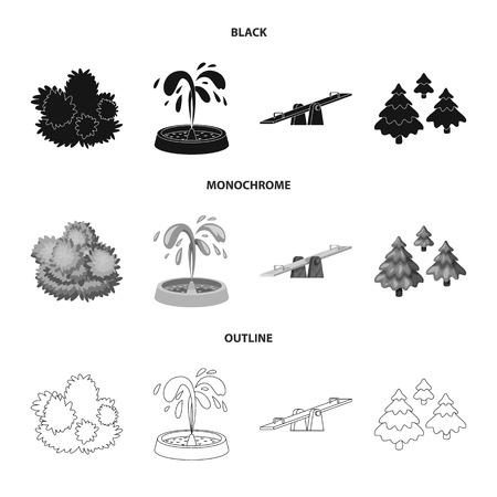 Illustrazione vettoriale di simbolo urbano e stradale. Raccolta di illustrazione vettoriale d'archivio urbano e relax.