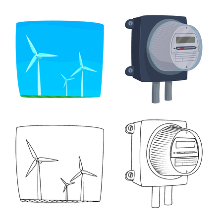 Vector design of electricity and electric symbol. Set of electricity and energy stock vector illustration. Vector Illustration