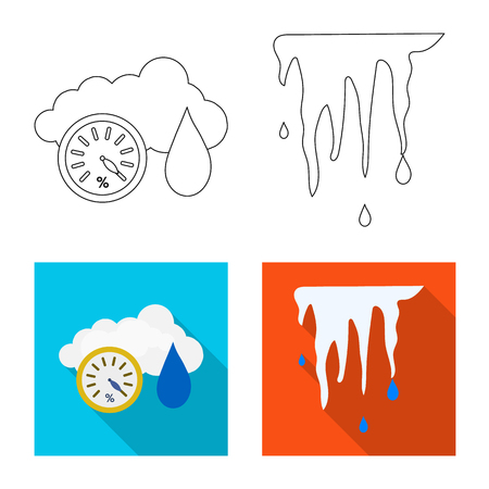 Vector illustration of weather and climate sign. Set of weather and cloud stock symbol for web. Vector Illustration