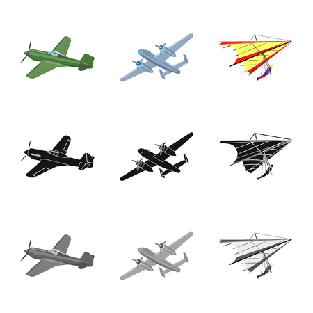 Vector design of plane and transport sign. Collection of plane and sky vector icon for stock.