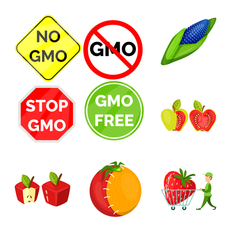 Vector design of modified and genetically logo. Collection of modified and science stock symbol for web.