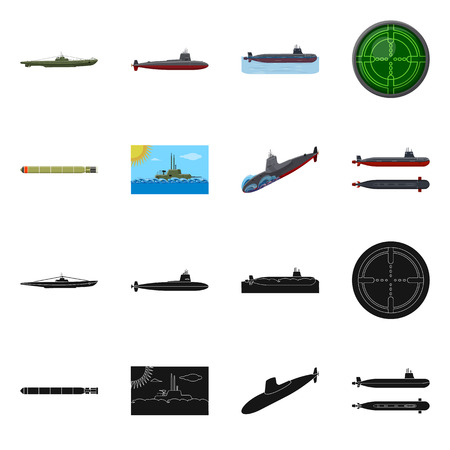 Isolated object of war and ship symbol. Collection of war and fleet vector icon for stock.