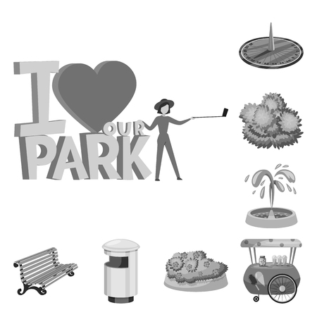 Vector illustration of park and city symbol. Collection of park and street vector icon for stock.
