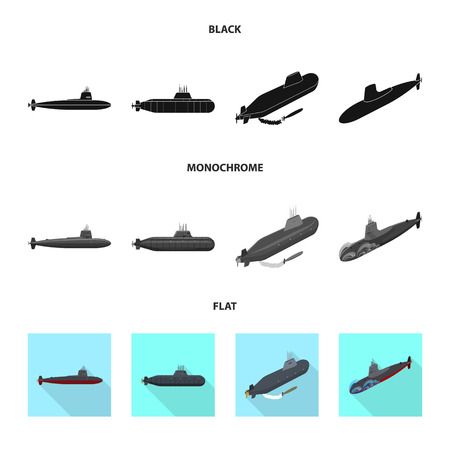 Vector illustration of war  and ship logo. Set of war  and fleet stock symbol for web.