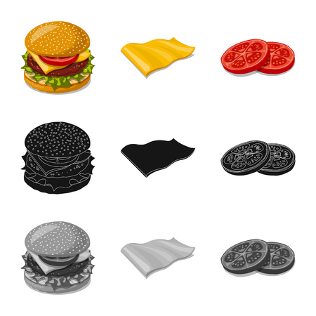 Vector illustration of burger and sandwich symbol. Collection of burger and slice stock vector illustration.