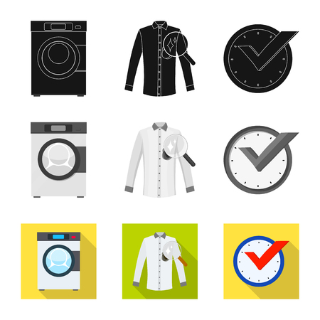 Vector design of laundry and clean symbol. Collection of laundry and clothes stock symbol for web. Çizim