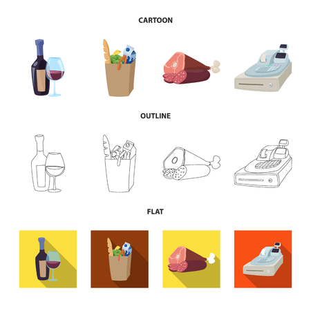 Vector design of food and drink icon. Set of food and store vector icon for stock. Ilustrace
