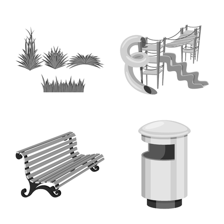 Isolated object of park and city symbol. Collection of park and street stock vector illustration.