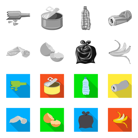 Vector illustration of dump  and sort sign. Set of dump  and junk vector icon for stock.