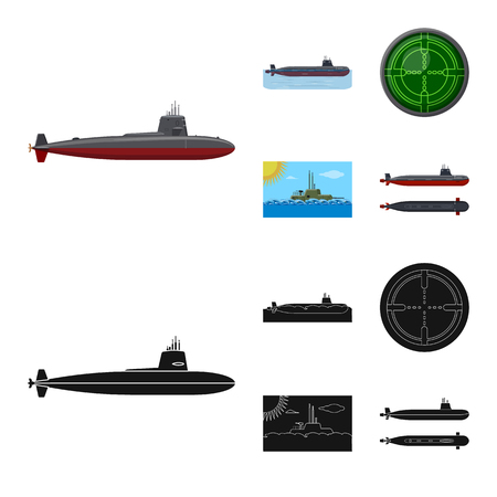 Vector illustration of war  and ship sign. Collection of war  and fleet vector icon for stock.