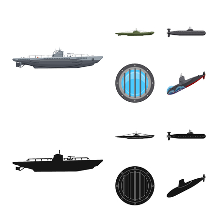 Vector illustration of war  and ship symbol. Collection of war  and fleet stock vector illustration. Vectores