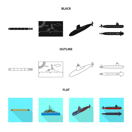 Vector illustration of war  and ship symbol. Set of war  and fleet stock vector illustration.