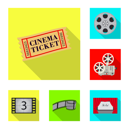 Vector illustration of television and filming icon. Set of television and viewing stock symbol for web.