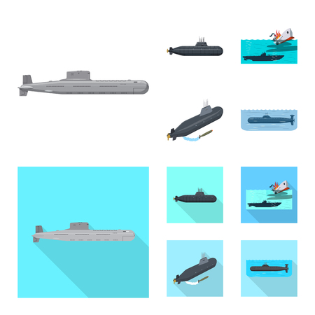 Vector design of war  and ship logo. Collection of war  and fleet vector icon for stock. Ilustrace