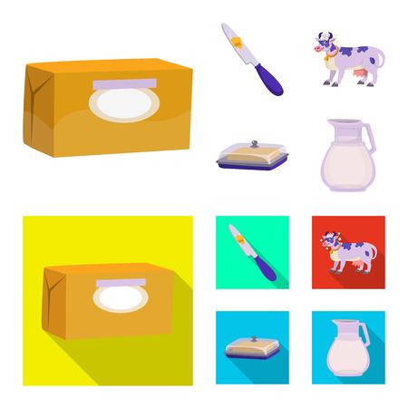 Illustrazione vettoriale del logo cremoso e del prodotto. Set di illustrazione vettoriale d'archivio cremoso e fattoria. Logo