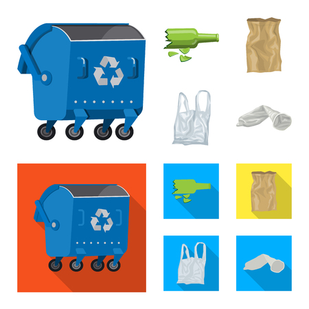 Vector design of dump  and sort sign. Set of dump  and junk stock vector illustration. Ilustracja