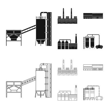 Oggetto isolato dell'icona di produzione e struttura. Raccolta di illustrazione vettoriali stock di produzione e tecnologia.