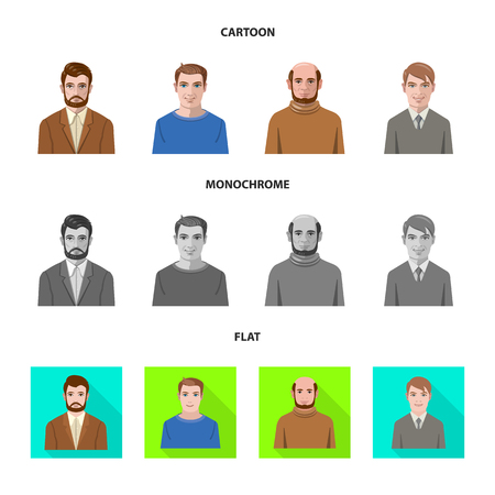 Vector illustration of hairstyle and profession  icon. Collection of hairstyle and character  vector icon for stock. Illustration