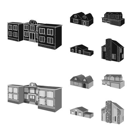 Vector design of facade and housing logo. Set of facade and infrastructure vector icon for stock.