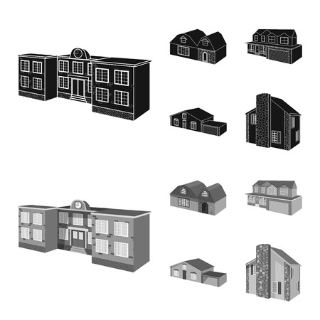 Vector design of facade and housing logo. Set of facade and infrastructure vector icon for stock.