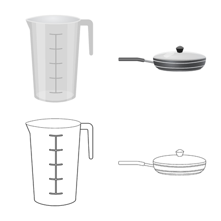 Vector design of kitchen and cook icon. Set of kitchen and appliance vector icon for stock. Foto de archivo - 119848845