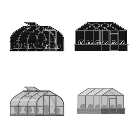 Vector design of greenhouse and plant icon. Set of greenhouse and garden stock symbol for web.