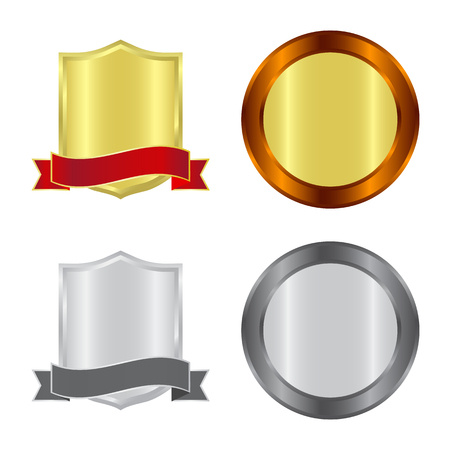 Vector design of emblem and badge icon. Set of emblem and sticker vector icon for stock. Stockfoto - 119780360