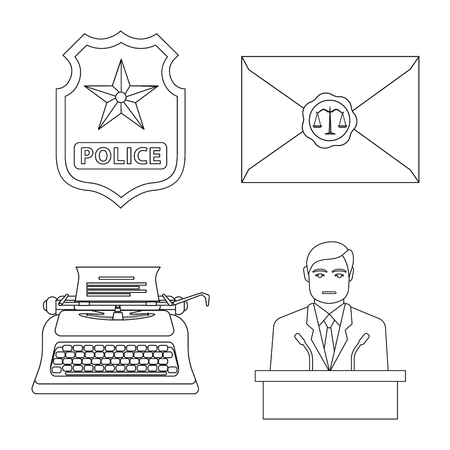 Vector illustration of law and lawyer icon. Collection of law and justice stock symbol for web. Vettoriali