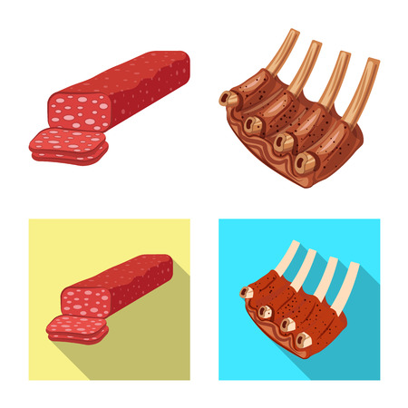 Vector illustration of meat and ham icon. Collection of meat and cooking stock vector illustration.