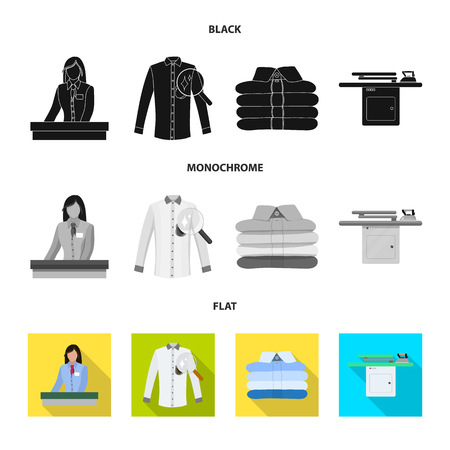 Vector illustration of laundry and clean icon. Collection of laundry and clothes vector icon for stock.