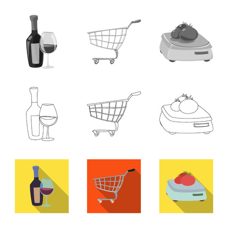 Vector design of food and drink symbol. Collection of food and store stock vector illustration.