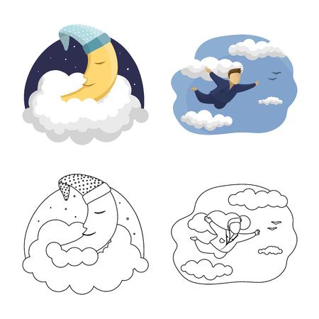 Illustration vectorielle de rêves et de nuit. Ensemble de rêves et illustration vectorielle stock chambre. Vecteurs