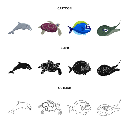 Isolated object of sea and animal icon. Set of sea and marine vector icon for stock. Vektorgrafik