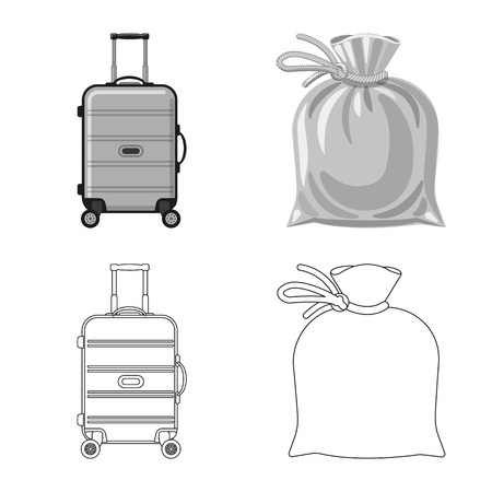 Vector illustration of suitcase and baggage icon. Collection of suitcase and journey vector icon for stock.