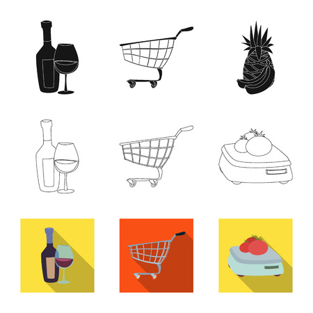 Isolated object of food and drink symbol. Collection of food and store stock symbol for web.