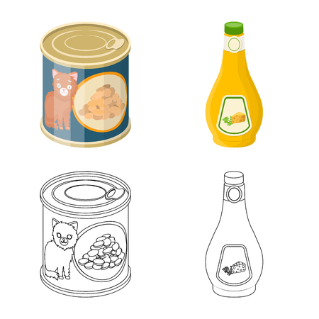 Vector illustration of can and food symbol. Set of can and package vector icon for stock. Vettoriali