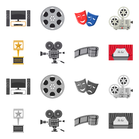 Vector illustration of television and filming icon. Collection of television and viewing stock vector illustration.