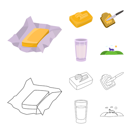 Isolated object of creamy and product sign. Set of creamy and farm stock vector illustration.