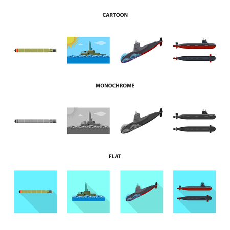 Isolated object of war  and ship. Set of war  and fleet vector icon for stock.