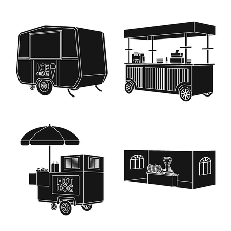 Isolated object of container and outdoor symbol. Set of container and kiosk vector icon for stock. 矢量图像