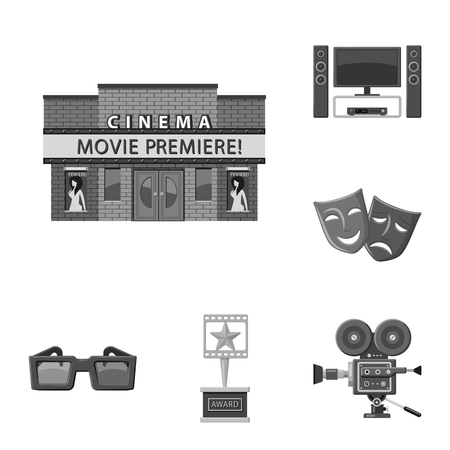 Vector illustration of cinematography and studio icon. Collection of cinematography and filming vector icon for stock.