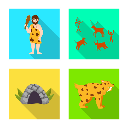 Vector illustration of evolution and neolithic logo. Collection of evolution and primeval vector icon for stock.